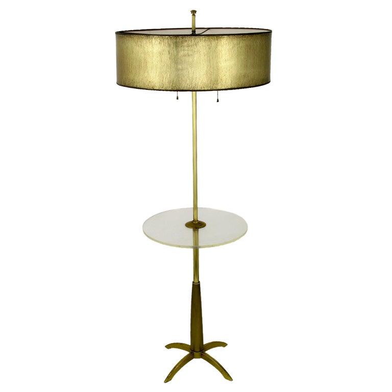 Brass four leg floor lamp with round lucite table by stiffel for 4 legged wooden floor lamp