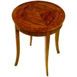 Round Baker Side Table With Quartered Circassian Walnut Top