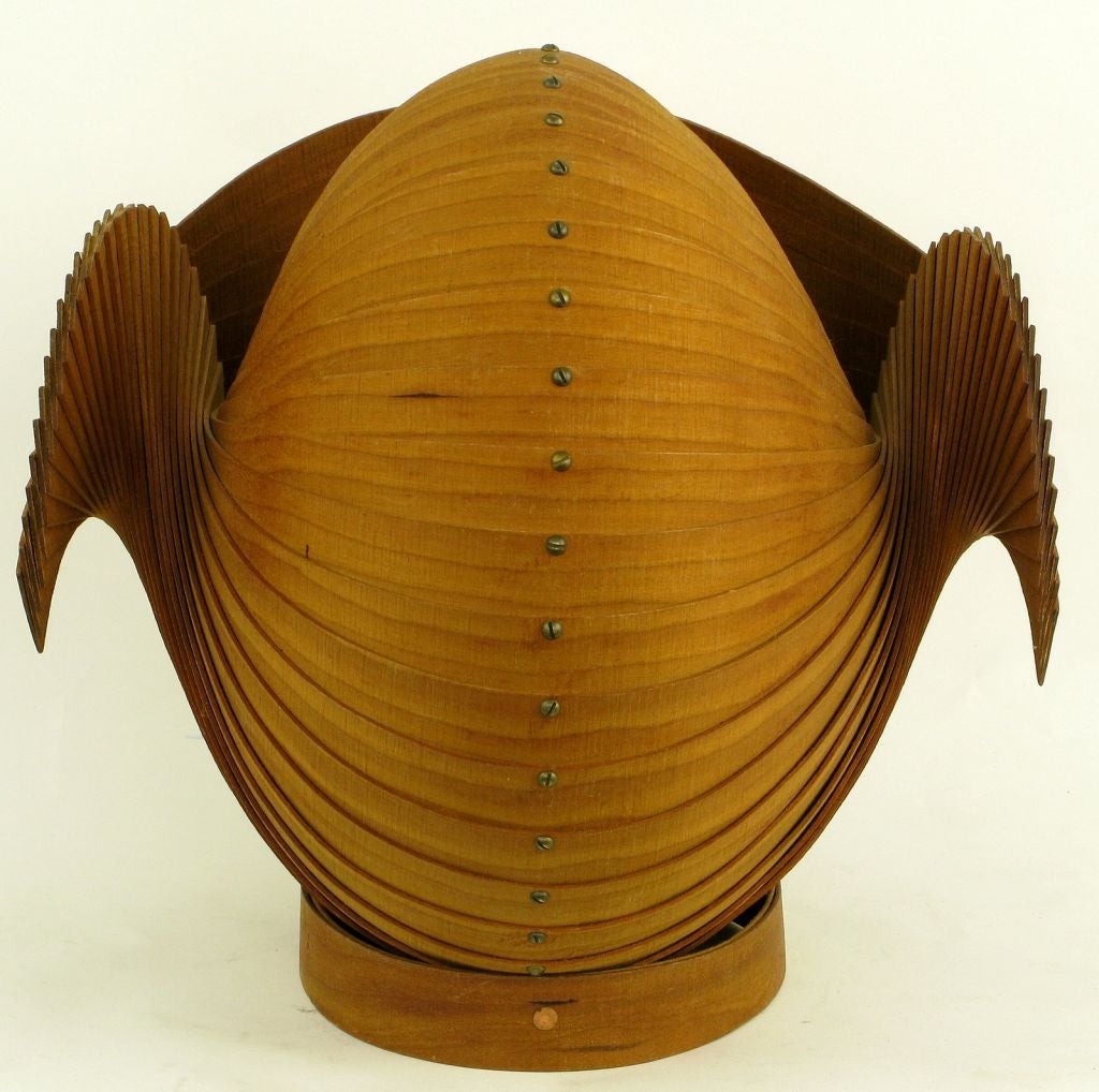 Stylized Carved And Segmented Wood Nautilus Shell at 1stdibs