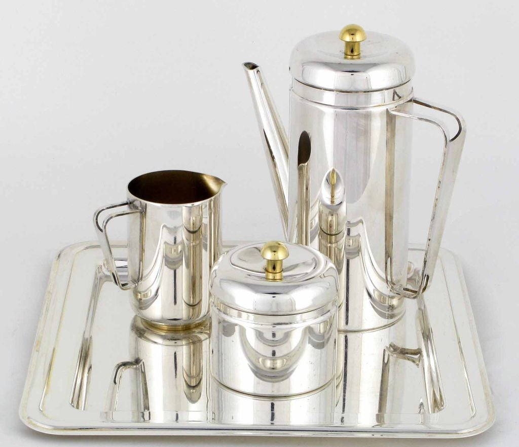 PM Italian Silverplate and Brass Coffee Service For Sale 4