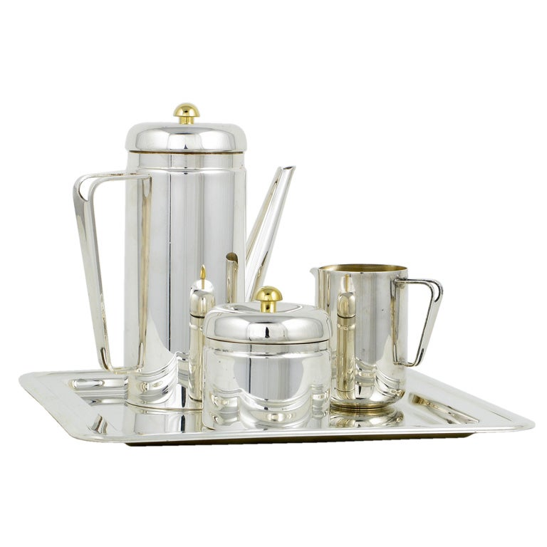 PM Italian Silverplate and Brass Coffee Service For Sale