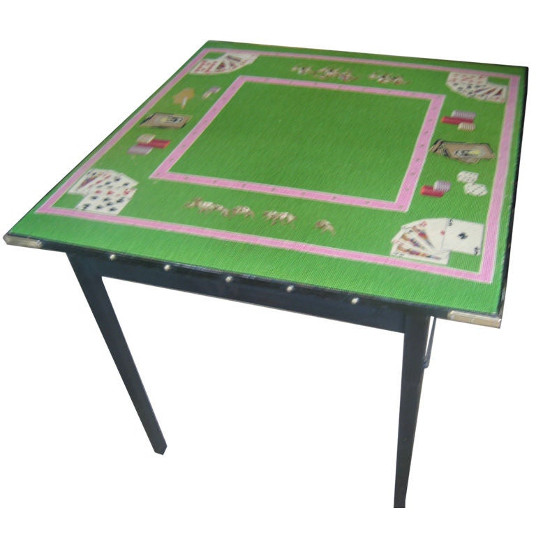 Needlepoint Top Folding Card Table At 1stdibs