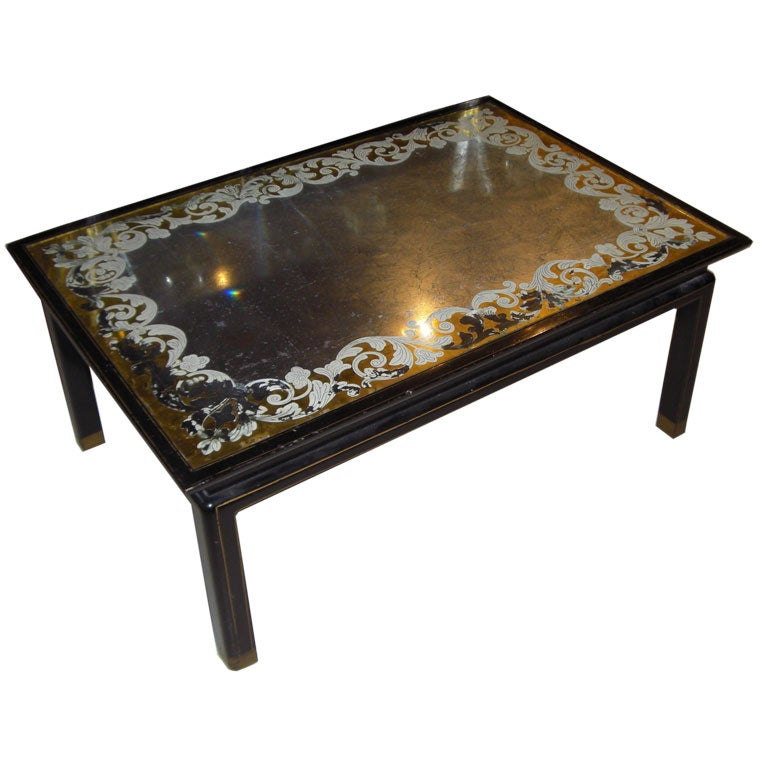 1940 39 S American Asian Style Mirrored Top Coffee Table At 1stdibs