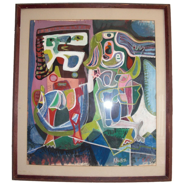 1950 S Cubist Gouache By Peter Busa At 1stdibs