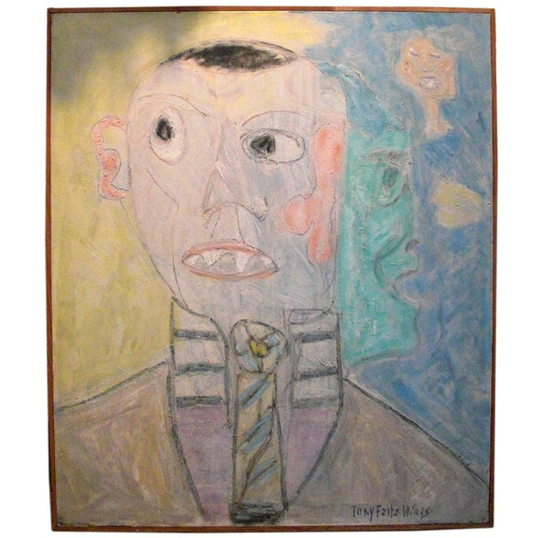 Signed Modern oil on canvas portrait of a man dated 1971 For Sale
