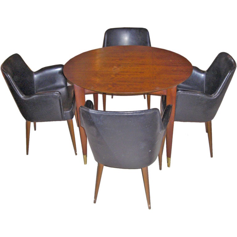 Gio ponti dining table for singer and sons with 4 chairs for Singer dining room set