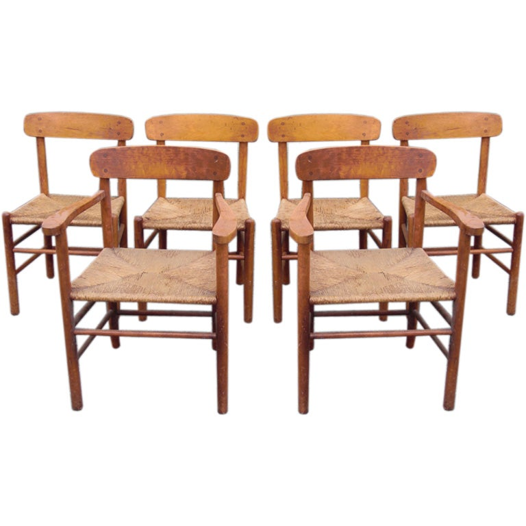 set of 6 maple and oak dining chairs after charlotte perriand at