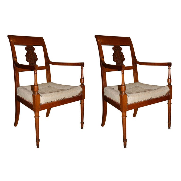 Pair Of Directoire Armchairs At 1stdibs