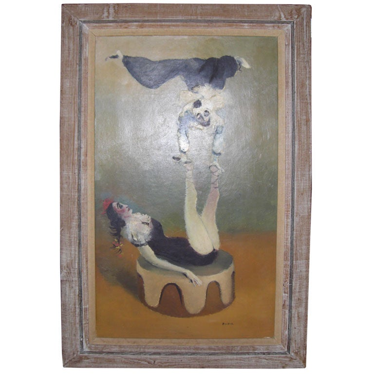 Oil On Canvas Of Acrobats By Leonard Kester At 1stdibs