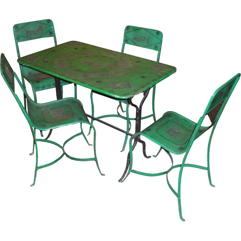 Early 20th cent french painted iron outdoor set at 1stdibs French metal garden furniture