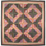 Antique Quilt, Log Cabin, Light and Dark Variation