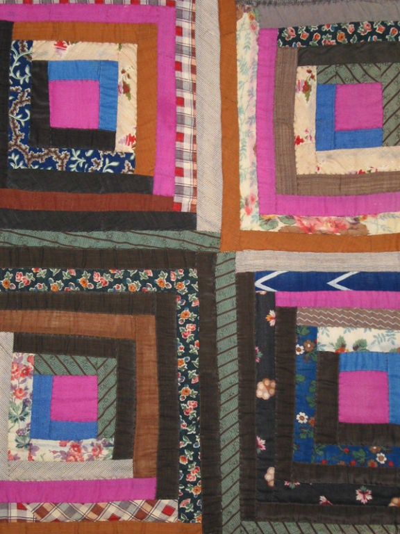 19th Century Antique Quilt, Log Cabin, Light and Dark Variation For Sale
