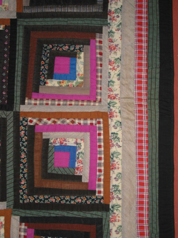 Cotton Antique Quilt, Log Cabin, Light and Dark Variation For Sale