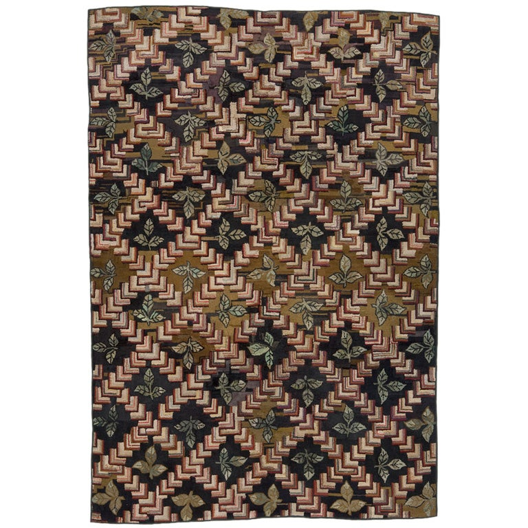 Antique Hooked Rug Chevrons and Leaves