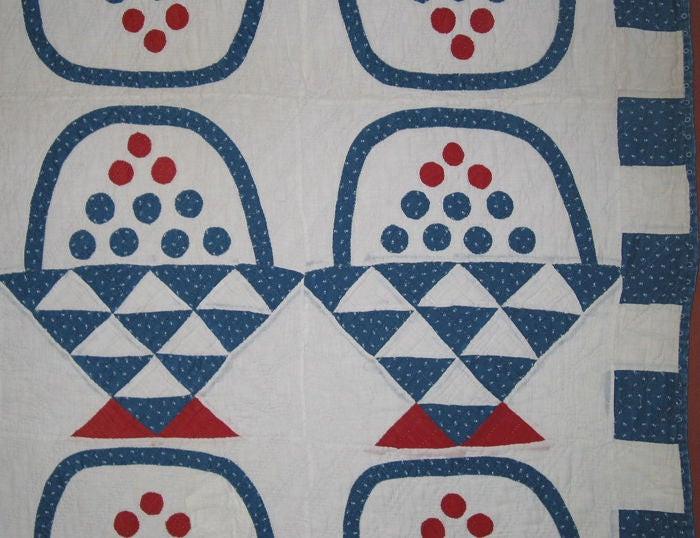 American Antique Quilt:  Baskets of Cherries and Blueberries For Sale