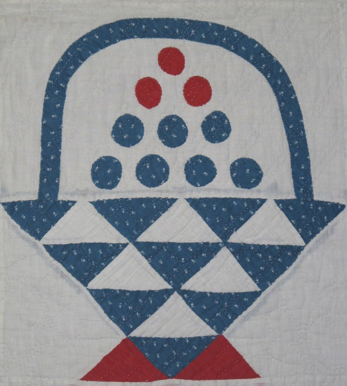 19th Century Antique Quilt:  Baskets of Cherries and Blueberries For Sale