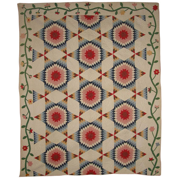 Antique Pieced Quilt:  Star of Bethlehem/Harvest Sun