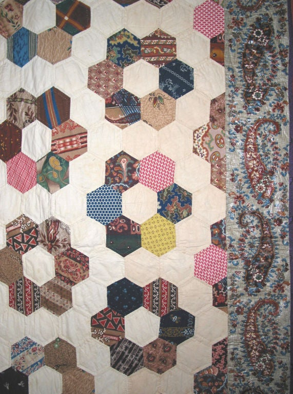 Hand-Crafted Antique Quilt, Mosaic/Honeycomb For Sale