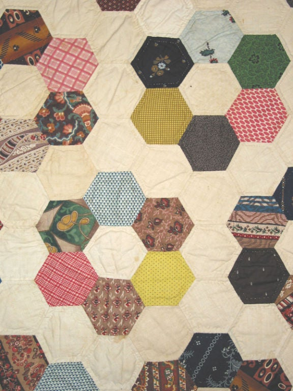 Antique Quilt, Mosaic/Honeycomb In Excellent Condition For Sale In New York, NY