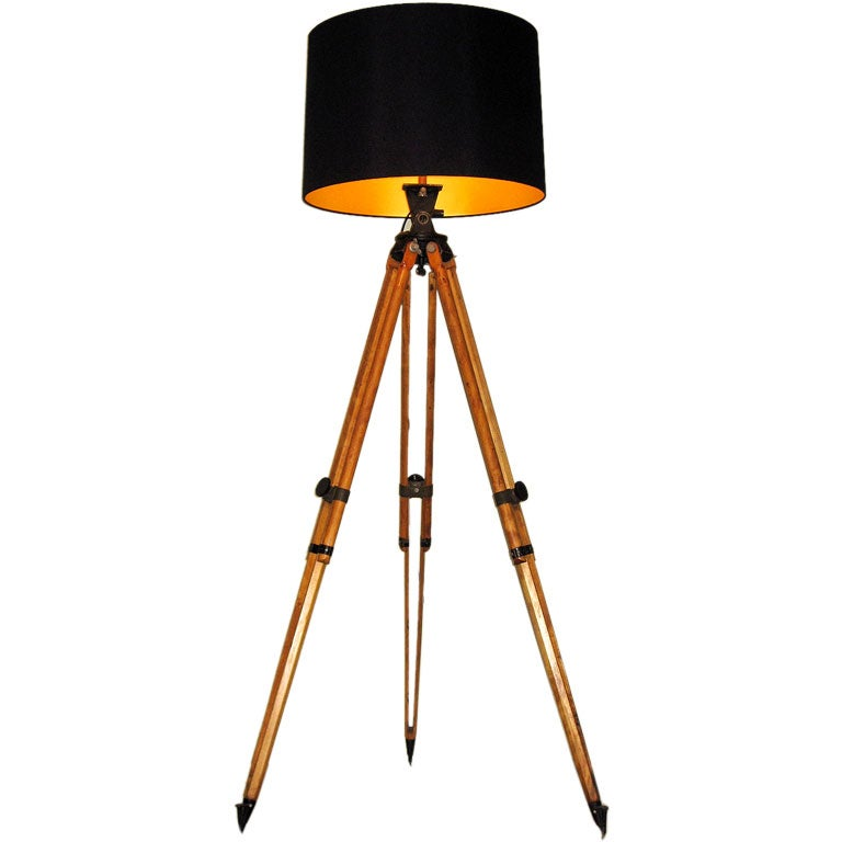 Surveryor tripod floor lamp for Surveyors floor lamp wood