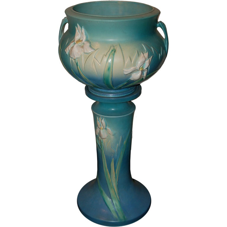 Roseville Iris Blue Jardiniere And Pedestal At 1stdibs
