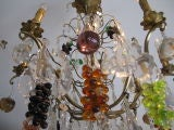 Crystal & Bronze Chandelier with Hanging Fruit image 2
