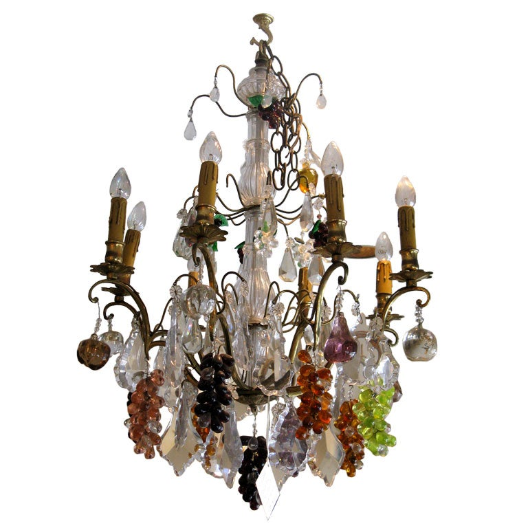 Crystal & Bronze Chandelier with Hanging Fruit