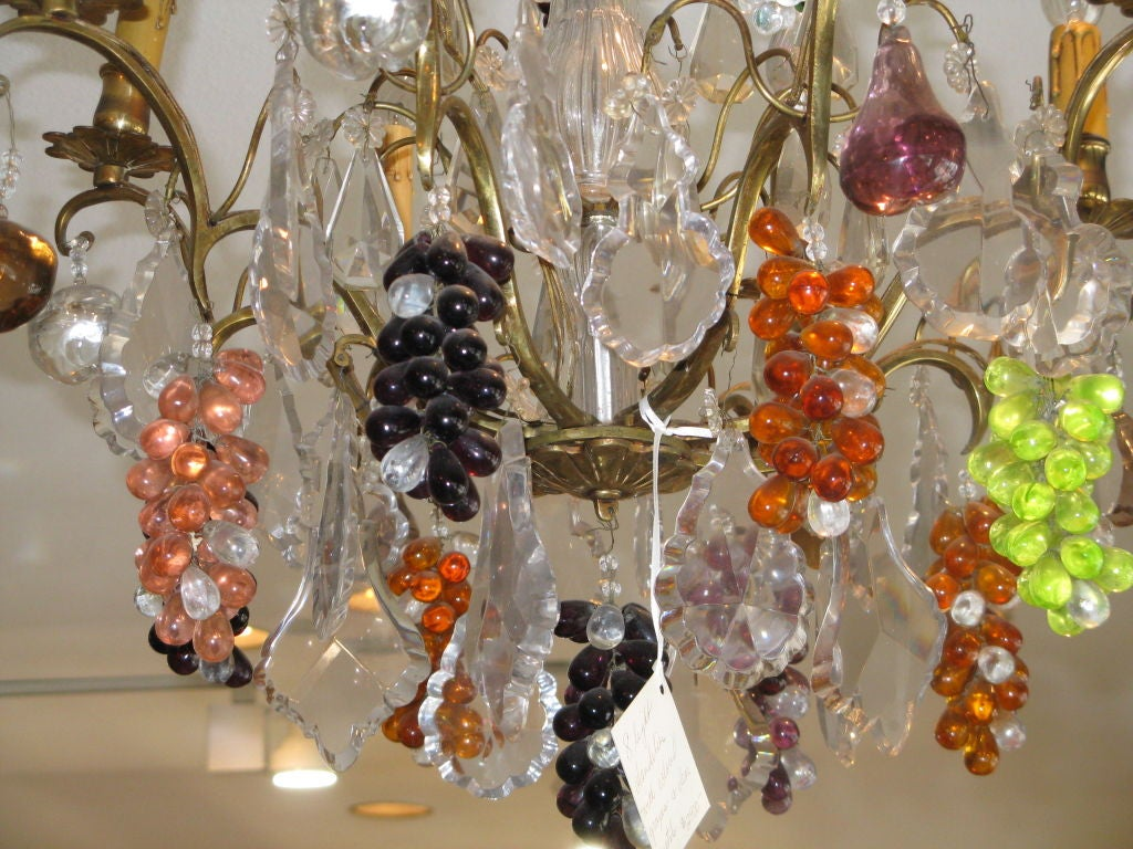 Crystal & Bronze Chandelier with Hanging Fruit 4