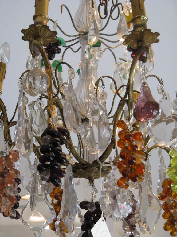 Crystal & Bronze Chandelier with Hanging Fruit 3