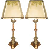Bronze Candlestick Lamps with Custom Shades