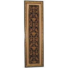 Italian Framed Metallic Appliqued Black Velvet C. 1700's