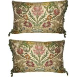 Pair of  Antique Textile Pillows with Tassel Fringe