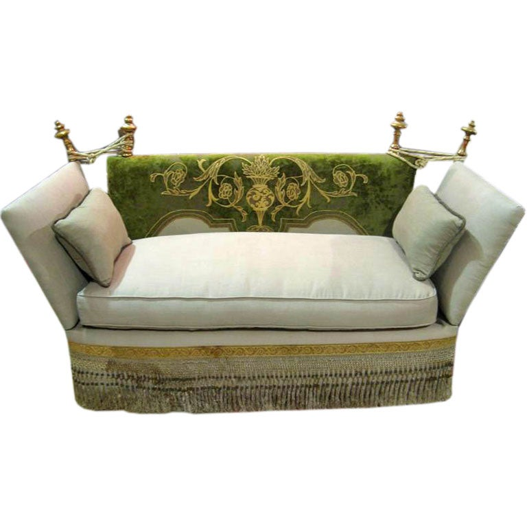 knoll style sofa with antique velvet back and giltwood finials at 1stdibs. Black Bedroom Furniture Sets. Home Design Ideas