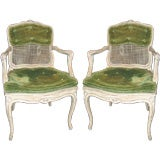 Pair of French Painted Cane Armchairs