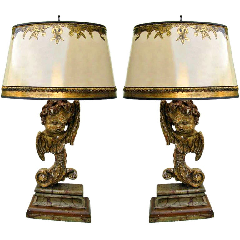 Pair Of Carved Italian Style Cherub Lamps At 1stdibs