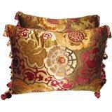 Pair of Vintage Silk Velvet Pillows with Tassel Trim
