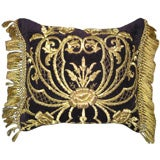 Antique Turkish Gold Embroidered Pillow