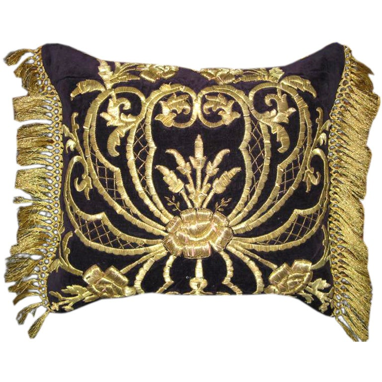 Antique Turkish Gold Embroidered Pillow 1