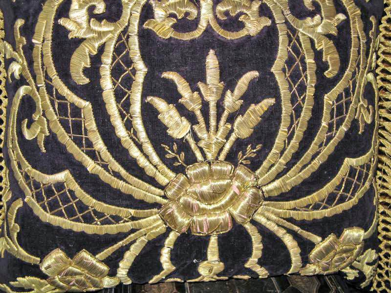 Antique Turkish Gold Embroidered Pillow 2