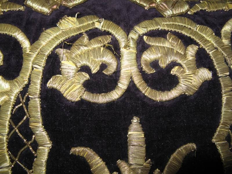 Antique Turkish Gold Embroidered Pillow 4
