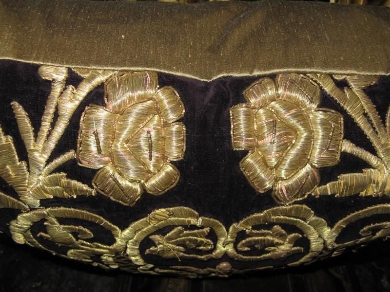 Antique Turkish Gold Embroidered Pillow 8