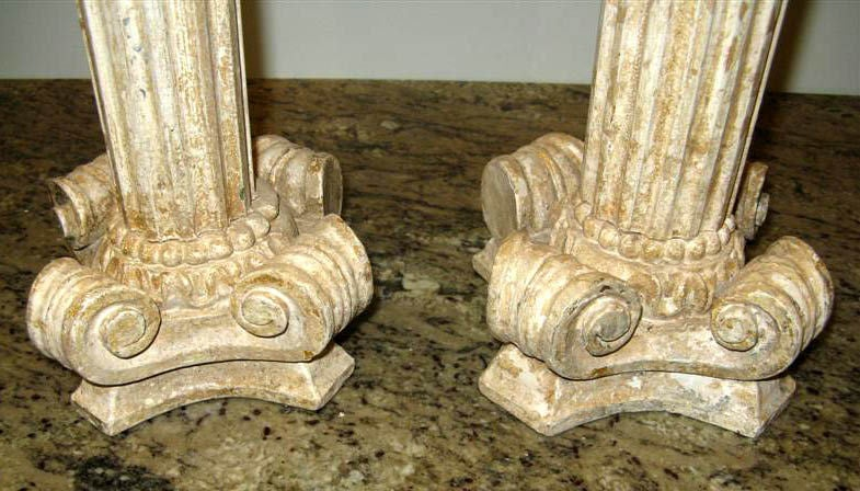 Pair of carved column candlesticks c 1930 s at 1stdibs