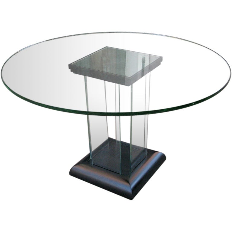 Modernage all glass dining table at 1stdibs for All glass dining room table