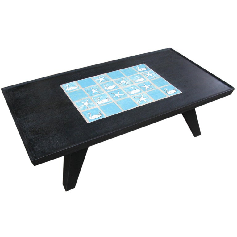 Wood Coffee Table With Ceramic Tile Inserts On Top At 1stdibs