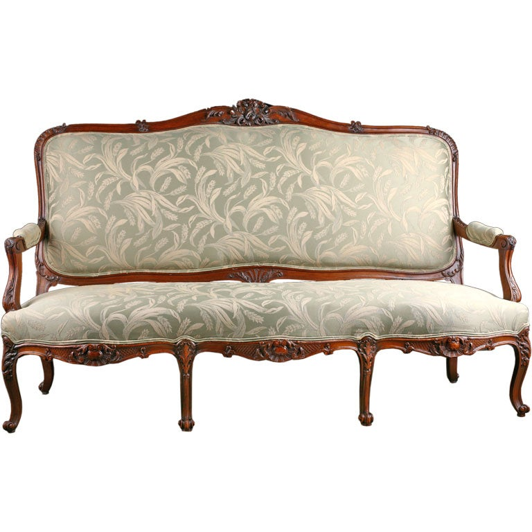 French Antique Louis Xv Style Carved Walnut Sofa At 1stdibs