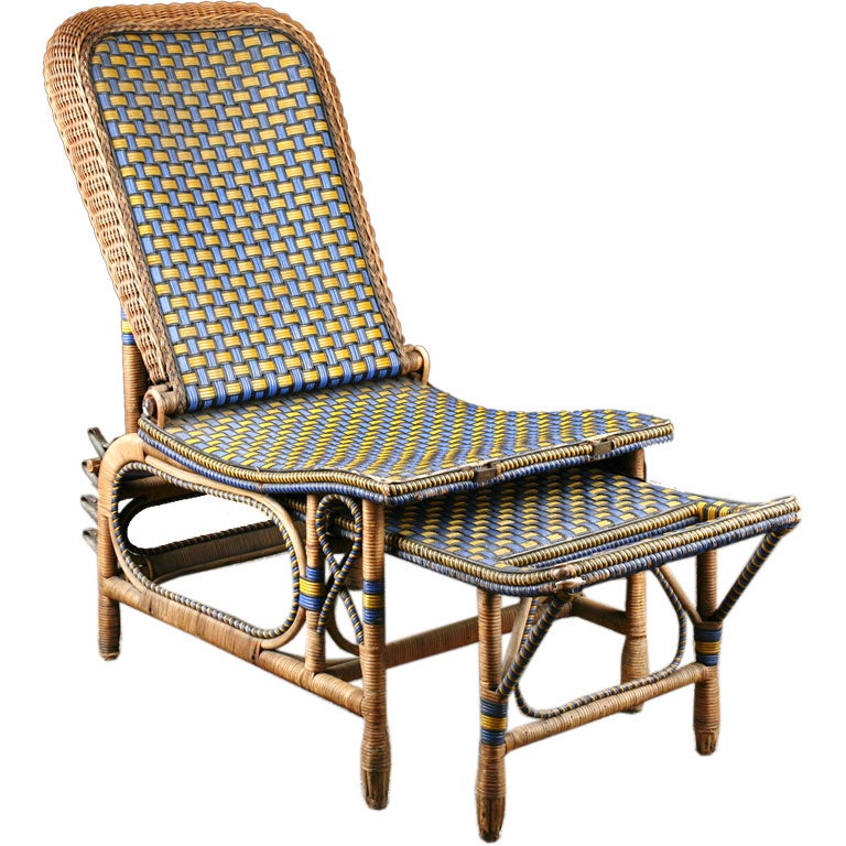 French antique blue and yellow garden chaise longue at 1stdibs for Blue chaise longue