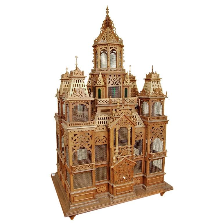 Whimsical Swiss Antique Folk Art Model of a Chateau