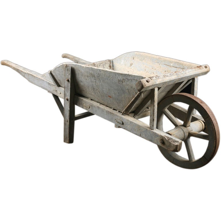 French Antique Wooden Wheelbarrow At 1stdibs
