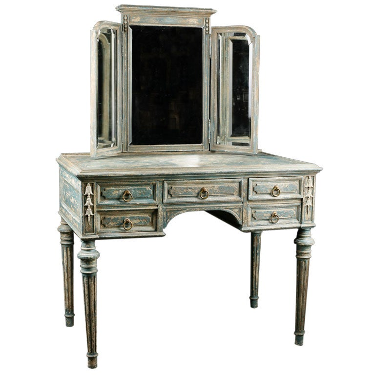 French Antique Painted Vanity With Triptych Mirror At 1stdibs