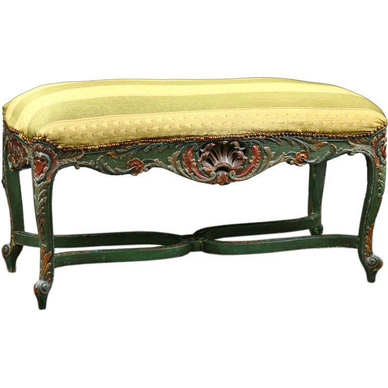 Beautiful French Antique Painted Regence Style Bench At